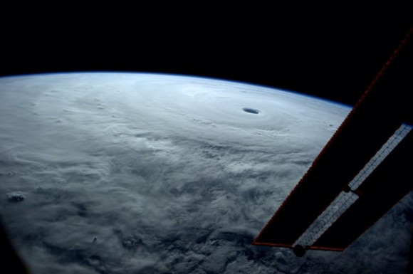 Reid Wiseman took this picture on top of the ISS showing the true power of Super Typhoon Vongfong. Image Credit: Reid Wiseman/Twitter