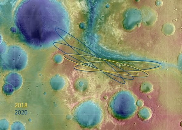 Mawrth Vallis, one of four candidate landing sites under consideration for the ExoMars 2018 mission.  Landing ellipses under evaluation are indicated.  They cover an area of 170 x 19 km.  Image via ESA/DLR/FU Berlin & NASA MGS MOLA Science Team