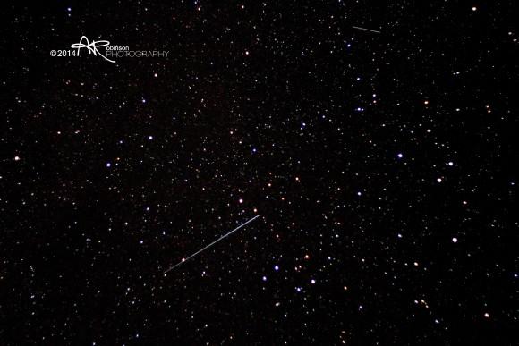 Orionid meteor, October 21, 2014, by Aaron Robinson.