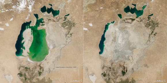 NASA satellite images show the Aral Sea without its eastern lobe on August 19, 2014 (right). Substantial changes are apparent when compared to an image from August 25, 2000 (left), and again when compared to the approximate location of the shoreline in 1960 (black outline). Image credit: NASA Earth Observatory