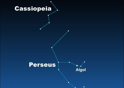 Star chart of constellations Cassiopeia and Perseus with star Algol labeled.