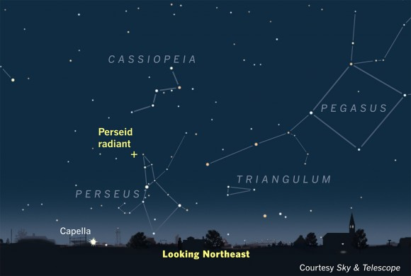 Chart with small cross representing meteor radiant point between Cassiopeia and Perseus.