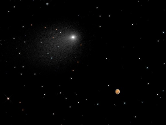 This composite NASA Hubble Space Telescope image captures the positions of comet Siding Spring and Mars in a never-before-seen close passage of a comet by the Red Planet, which happened at 2:28 p.m. EDT October 19, 2014. Image credit: NASA, ESA, PSI, JHU/APL, STScI/AURA