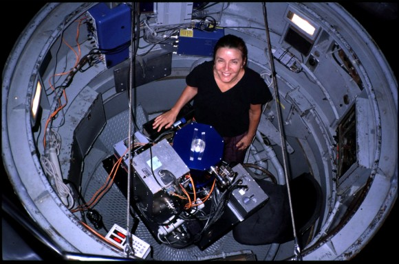 Deborah Byrd inside the observer's cage at the Palomar 200-inch telescope