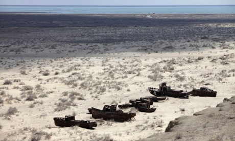 This 2010 photo shows a ship graveyard near Muynak over the dried up Aral Sea in Uzbekistan. Photo credit: Alexander Zemlianichenko.