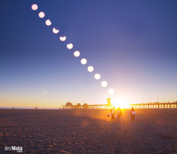 Jim Nista created this nice solar eclipse composite after shooting at Huntington Beach Pier, south of Los Angeles.  He wrote,