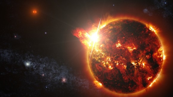 DG CVn, a binary consisting of two red dwarf stars shown here in an artist's rendering, unleashed a series of powerful flares seen by NASA's Swift. At its peak, the initial flare was brighter in X-rays than the combined light from both stars at all wavelengths under typical conditions. Image viaNASA's Goddard Space Flight Center/S. Wiessinger