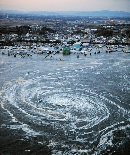 The world watch on television as the March 11, 2011 tsunami in Japan created this mighty whirlpool off the coast of Oarai in Japan.  An 8.9-magnitude earthquake created the tsunami.