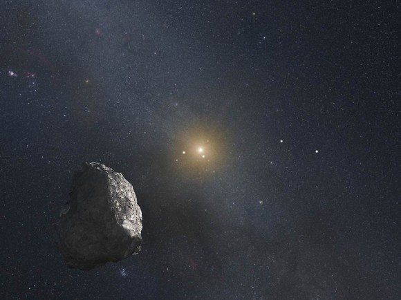 This is an artist's impression of a Kuiper Belt object (KBO), located on the outer rim of our solar system at a staggering distance of 4 billion miles from the Sun. A HST survey uncovered three KBOs that are potentially reachable by NASA's New Horizons spacecraft after it passes by Pluto in mid-2015. Image via NASA, ESA, and G. Bacon (STScI)