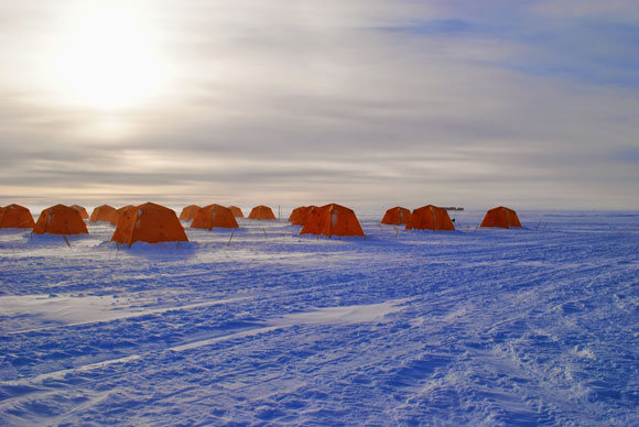 Living tents at Lake Whillans. which is located under the Whillans Ice Stream at the southeastern edge of the Ross Ice Shelf in west Antarctica. Image Credit: A. Michaud.