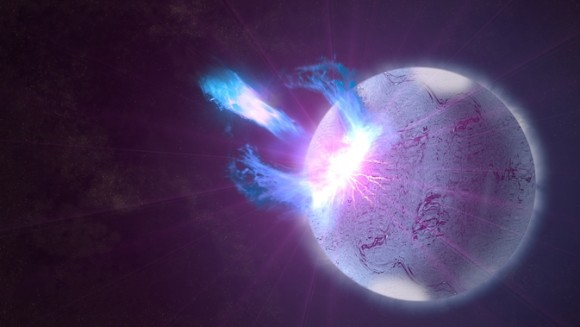 A rupture in the crust of a highly magnetized neutron star, shown here in an artist's rendering, can trigger high-energy eruptions. Fermi observations of these blasts include information on how the star's surface twists and vibrates, providing new insights into what lies beneath. Image via NASA's Goddard Space Flight Center/S. Wiessinger