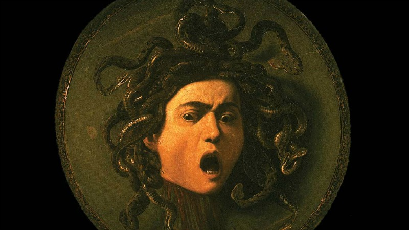 The Gorgon Medusa had snakes in place of hair. Eek! Via Wikimedia and Caravaggio
