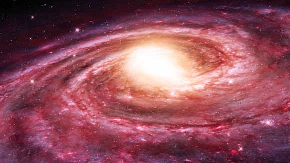 Artist's impression of the Milky Way. Its hot halo appears to be stripping away the star-forming atomic hydrogen from its companion dwarf spheroidal galaxies.  Image credit: NRAO/AUI/NSF