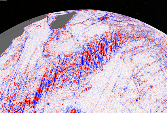 Satellite model of a slow spreading ridge in Indian Ocean. Image Credit: David Sandwell, Scripps Institution of Oceanography, UC San Diego.