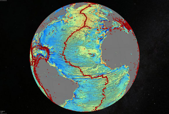 Satellite model of the North Atlantic Ocean. Image Credit: David Sandwell, Scripps Institution of Oceanography, UC San Diego.