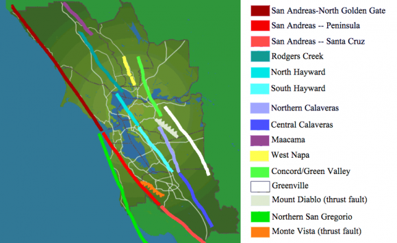 The San Andreas (reds and orange) and its major