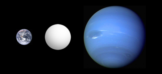 Illustration of the inferred size of a super-Earth (center) in comparison with Earth and Neptune.  Via Aldaron on Wikipedia