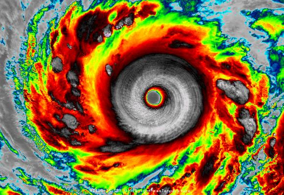 Super Typhoon Vongfong near its peak intensity. Image Credit: VIIRS Infrared Imagery/NOAA