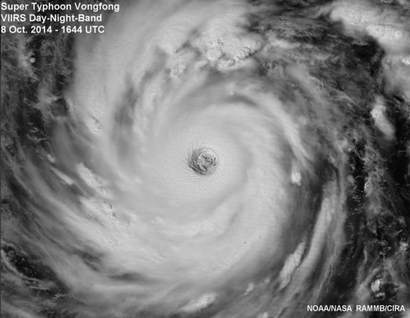 Visible VIIRS image of Super Typhoon Vongfong in moonlight as seen at 2:44 pm EDT on October 8, 2014. Image Credit: NOAA