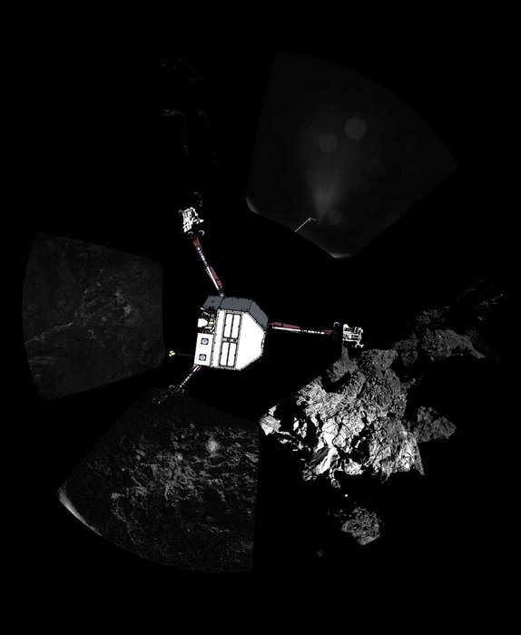 The Philae lander has returned the first panoramic image from the surface of a comet. The view, unprocessed, shows a 360º view around the point of final touchdown. The three feet of Philae's landing gear can be seen in some of the frames.  Superimposed on top of the image is a sketch of the Philae lander in the configuration the lander team currently believe it is in.   Image via ESA