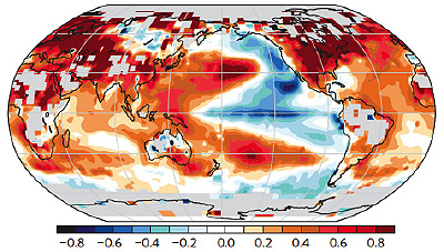 Where it's really cool: The map above was produced by subtracting average November-through-March temperatures for 1976–1998 from the readings for 1998–2012. The most prominent cooling can be found over the northeast Pacific and the eastern equatorial Pacific.  Figure 3(f) from Trenberth et al., Seasonal aspects of the recent pause in surface warming, Nature Climate Change, doi:10.1038/NCLIMATE2341.