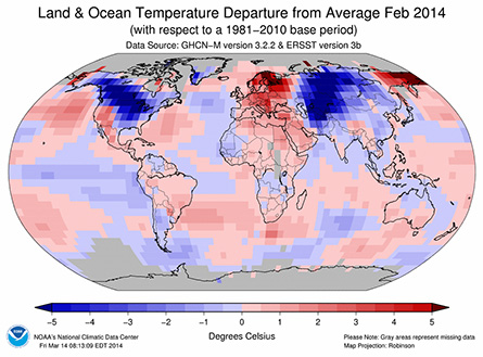 Much of North America and central Eurasia were plastered with unusually cold air (blue regions) during February 2014, while most other land areas on Earth ran warmer than average.  Image via National Climatic Data Center.