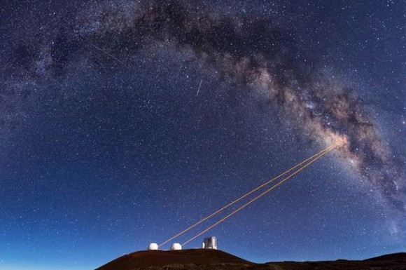 Telescopes from Hawaii's W.M. Keck Observatory use a powerful technology called adaptive optics, which enabled UCLA astronomers to discover that G2 is a pair of binary stars that merged together, cloaked in gas and dust.  Image via Keck Observatory