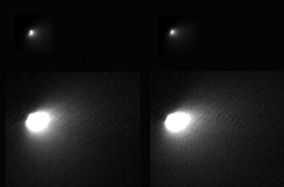 The High Resolution Imaging Science Experiment (HiRISE) camera on NASA's Mars Reconnaissance Orbiter captured views of comet C/2013 A1 Siding Spring while that visitor sped past Mars. The images are the highest-resolution views ever acquired of a comet coming from the Oort Cloud at the fringes of the solar system (or possible interstellar comet). The comet's nucleus turned out to be tiny, barely 400 meters wide. The two sets of images were taken nine minutes apart. Top set the actual nucleus, bottom set including the inner coma. Image via NASA/JPL-Caltech/University of Arizona. HiRISE.