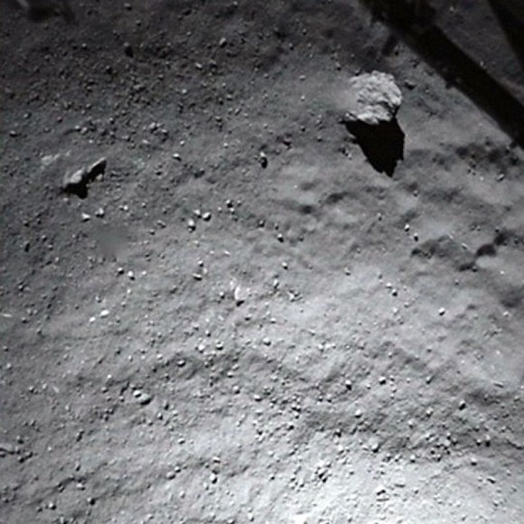 The Philae lander acquired this image while on approach to the comet.