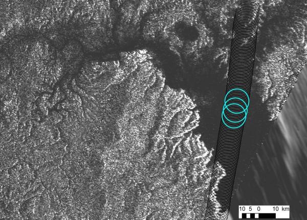 Cassini radar data reveal the depth of a liquid methane/ethane sea on Saturn's moon Titan near the mouth of a large, flooded river valley.  Image via NASA/JPL-Caltech/ASI/Cornell