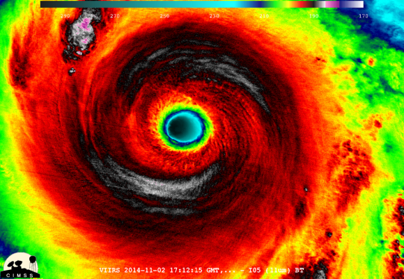 Suomi NPP VIIRS Infrared image of the eye of Super Typhoon Nuri in the West Pacific Ocean on November 2, 2014.