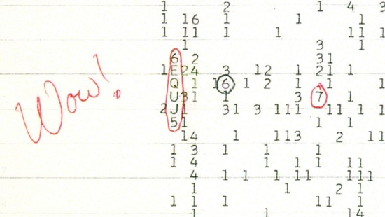 The famous Wow signal via Ohio State University Radio Observatory and the North American AstroPhysical Observatory .  Read more about it here.