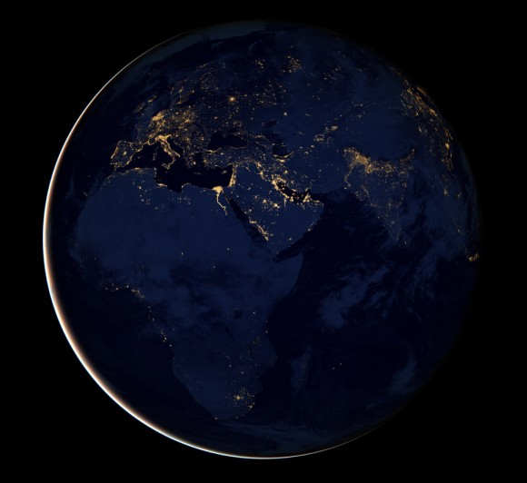 This incredible image of the night side of Earth is a composite of data gathered by the Suomi NPP satellite in April and October 2012 and mapped over previous imagery of the whole Earth.  Image via NASA/NOAA.