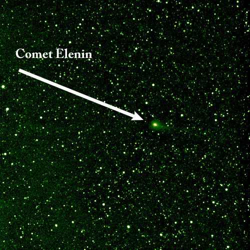 As Comet Elenin passed to within just 7 million kilometers of the STEREO (Behind) spacecraft, NASA rolled the spacecraft to take a look at it (Aug. 1, 2011) with its wide angle HI-2 instrument. Image credit: NASA