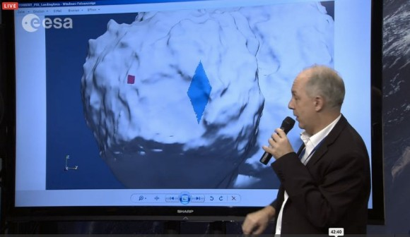Rosetta mission scientist describes the difference between the initial landing site - Site J, shown as a red square - and the area where the lander is now, shown as a blue diamond.  Image is a screen grab from ESA live video.