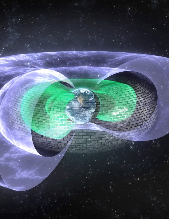 "Scientists have discovered an invisible shield roughly 7,200 miles above Earth that blocks so-called ""killer electrons,"" which can fry satellites and degrade space systems during intense solar storms. Illustration by Andy Kale, University of Alberta."