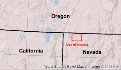 Location of ongoing Nevada earthquake swarm, which began in July 2014.