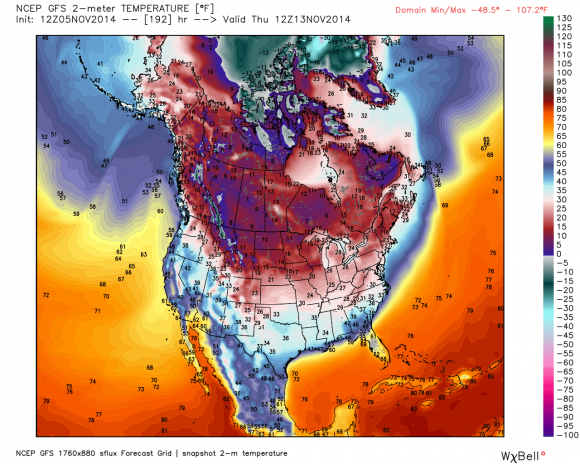 Big surge of cold air will hit Canada and the Central/Eastern U.S. by November 13-15, 2014. Image Credit: GFS via Weatherbell
