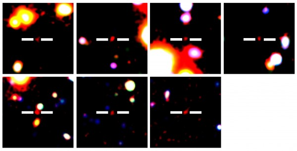 View larger.   Astronomers find 7 galaxies in early universe.  Image via Subaru.