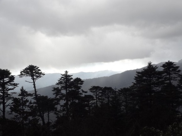 View of forested ridges from trail outside Bumthang. Photo credit: Ben Orlove