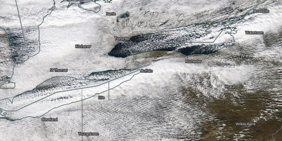 You can see the snow bands enter near Buffalo on November 18, 2014. Image Credit: NASA