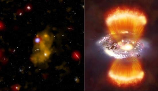 A Lyman alpha emitter (left) and an artist's impression of what one might look like if viewed at a relatively close distance (right), via Chandra X-ray Observatory.