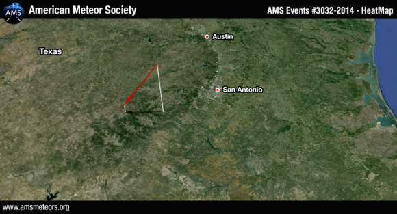 Computed trajectory of a bright meteor - or fireball - seen over the Texas Hill Country west of San Antonio on November 8, 2014.