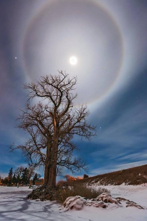 A moon halo in Mandan, North Dakota by Marshall Lipp. February, 2015.