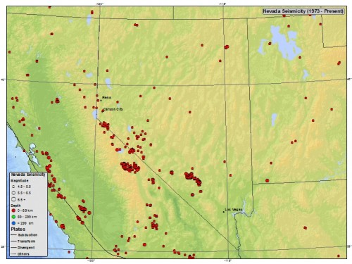 Seismicity map of Nevada, from USGS.