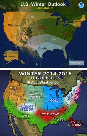 Two takes on our upcoming winter: seasonal outlooks issued in October by NOAA (top) and AccuWeather (bottom).