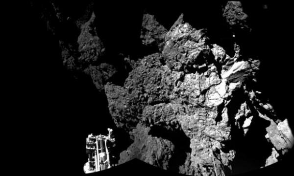 First image from the surface of Comet 67P/Churyumov-Gerasimenko from the Rosetta million's lander Philae Photograph: ESA/Rosetta/Philae/CIVA/Photograph: ESA/Rosetta/Philae/CIVA