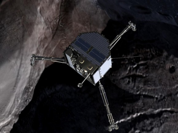The Rosetta mission's Philae lander is about the size of a washing machine.  It has legs to cushion its impact, a thruster to push it down, and a harpoon that will act like an anchor on the comet's surface.  This image is an artist's illustration, a frame from the movie
