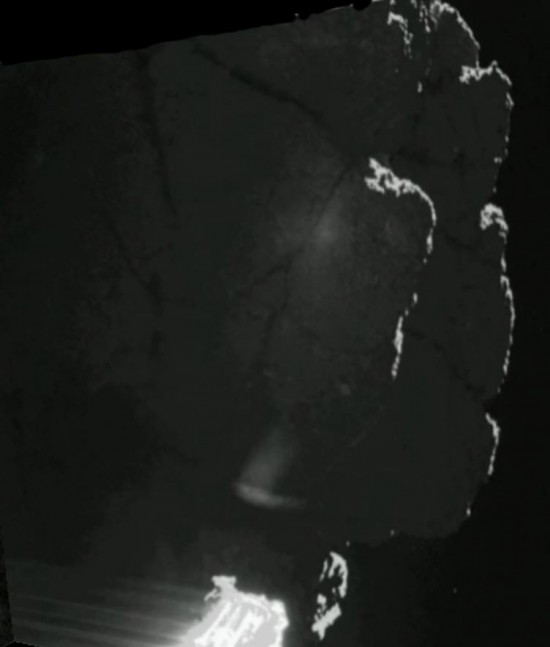One of the first-ever images from the surface of a comet.  It's a view of a shadowed low cliff from the comet's surface after landing. Read more about this image from Andrew R. Brown