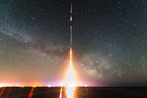 This is a time-lapse photograph of the Cosmic Infrared Background Experiment (CIBER) rocket launch, taken from NASA's Wallops Flight Facility in Virginia in 2013. The image is from the last of four launches. Image credit: T. Arai/University of Tokyo